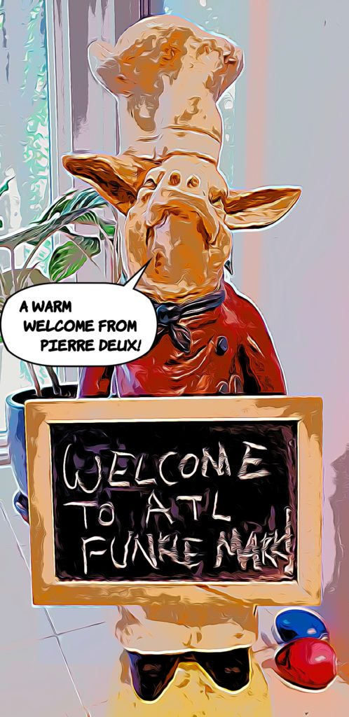 Pierre the pig with welcome chalkboard sign
